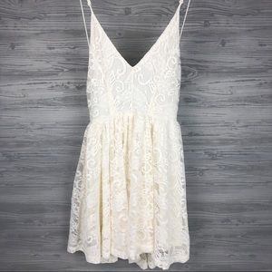 Sam Edelman Vanilla Ice Lace Sleep Romper, Sz S